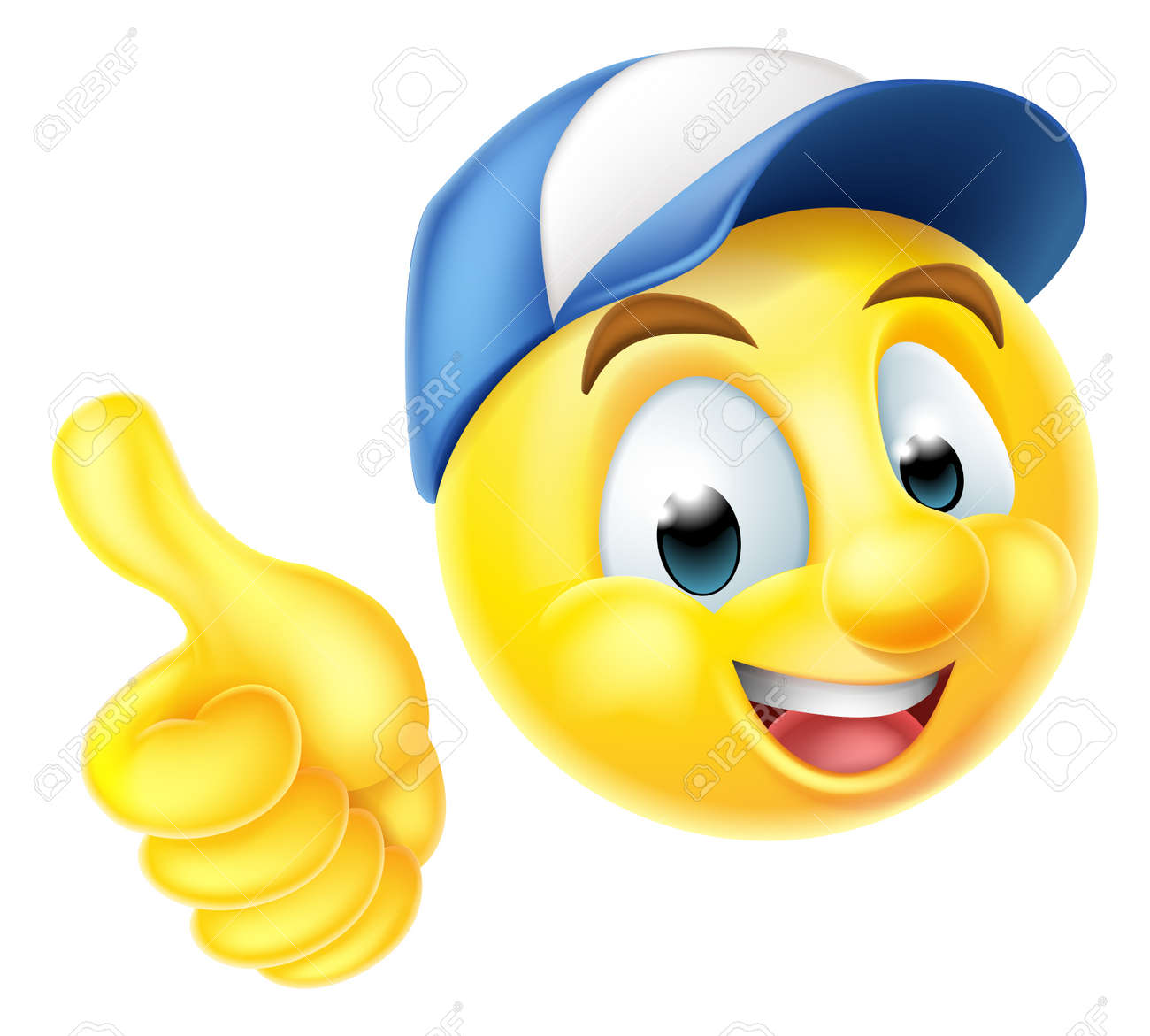 Smiley face stock photos royalty free smiley face images cartoon emoji emoticon smiley face character wearing a workers cap and giving a thumbs up voltagebd Image collections