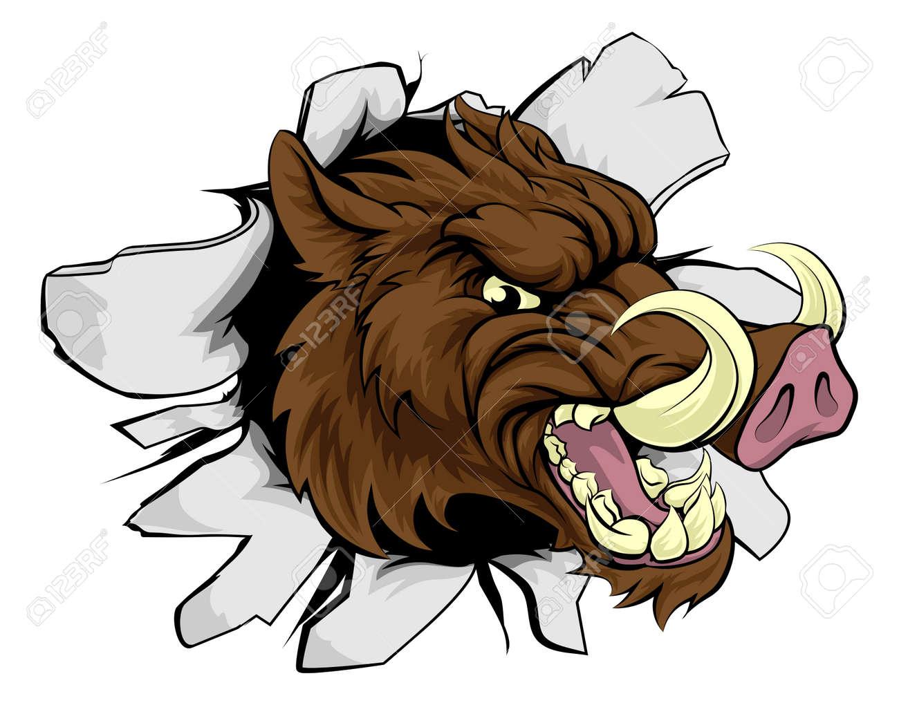 a wild boar or razorback cartoon sports mascot breaking through rh 123rf com wild boar clipart free wild boar animated clipart