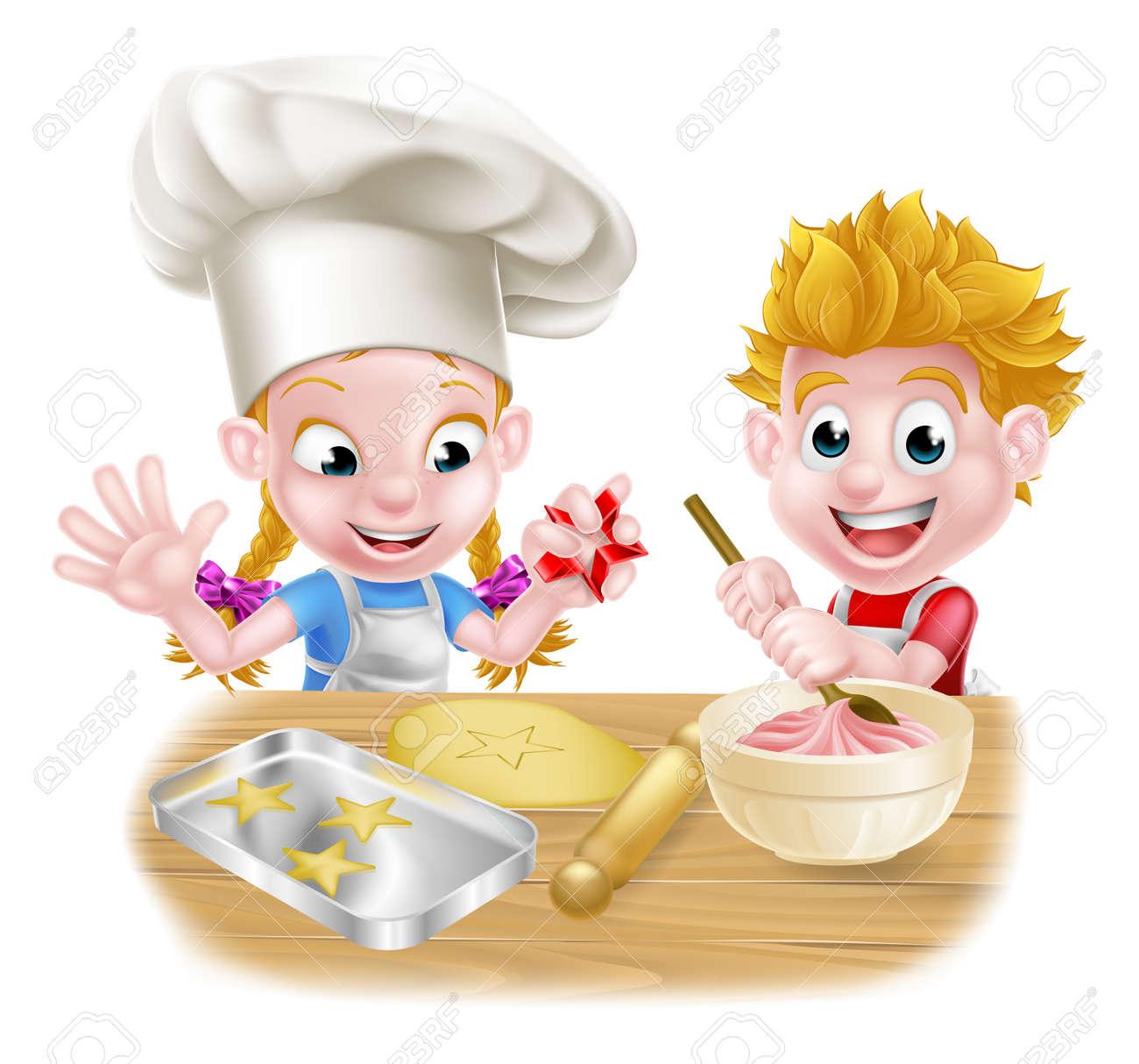 Niños De Dibujos Animados Cocinar Y Hornear Como Chefs De La Cocina