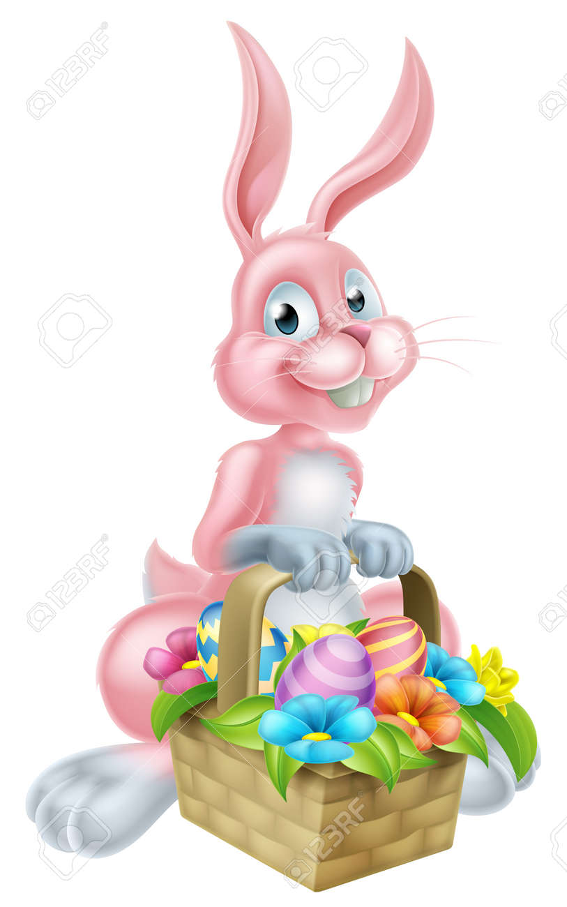 Pink Cartoon Easter Bunny Rabbit Holding An Easter Basket Full