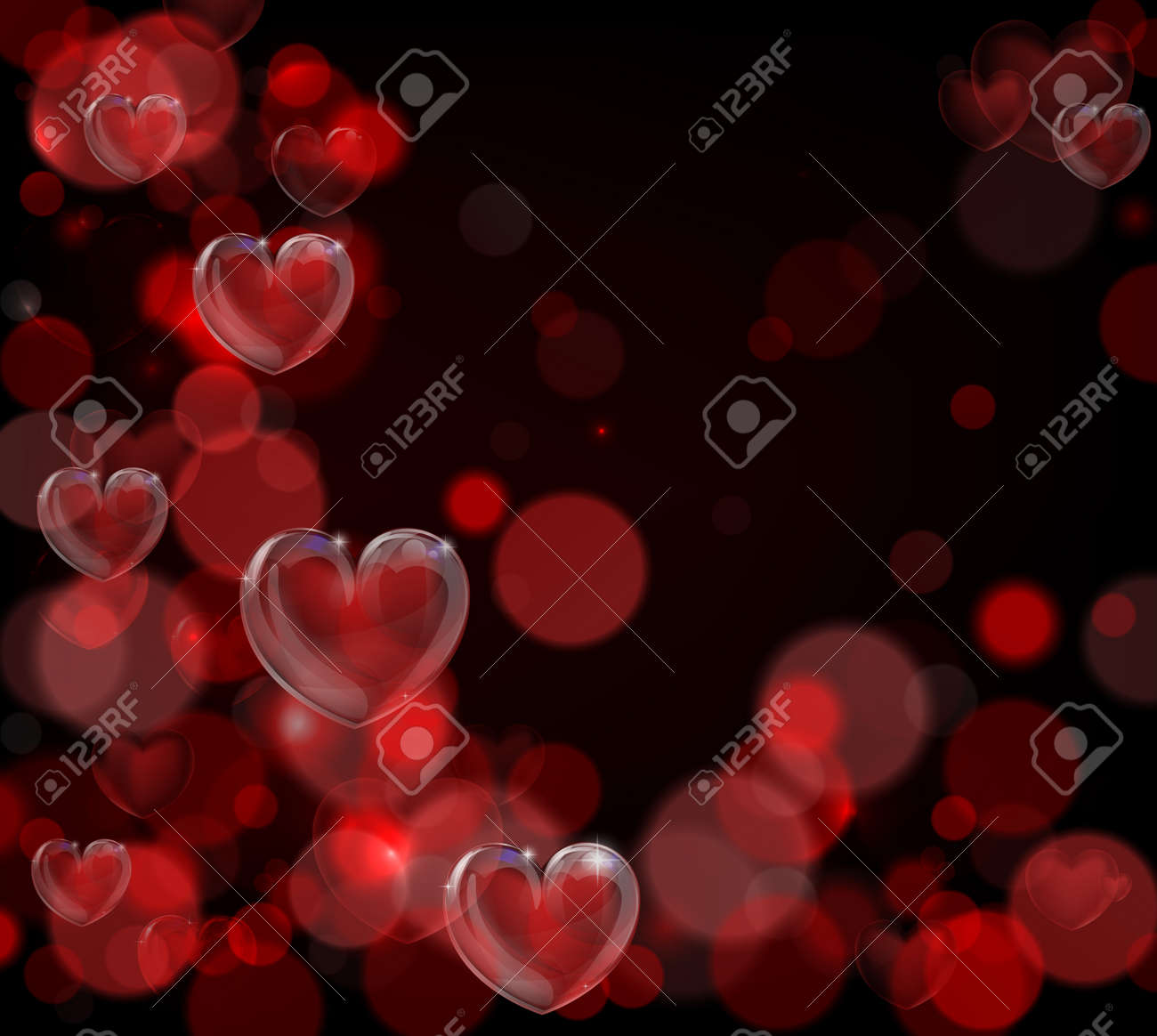 A Red Valentines Day Hearts Background With Bokeh Effects Royalty