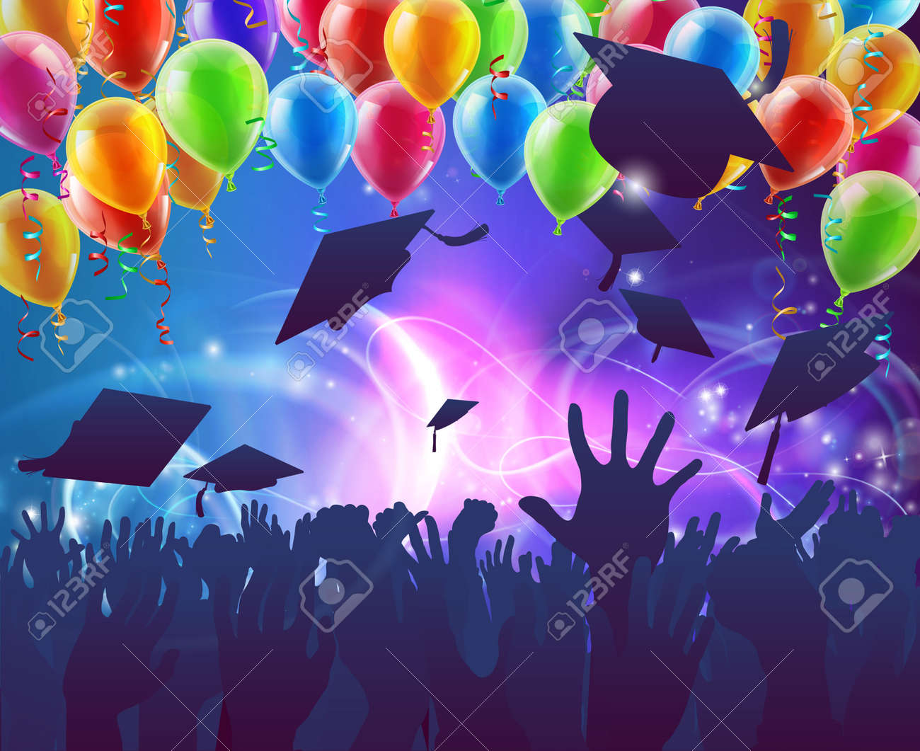 Graduation convocation crowd concept of student hands in silhouette throwing their mortar board caps celebrating with abstract background and balloons - 51882874