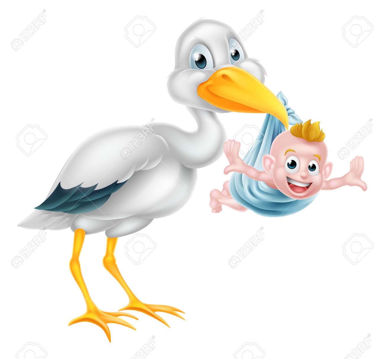 an illustration of a cartoon stork bird holding a newborn baby
