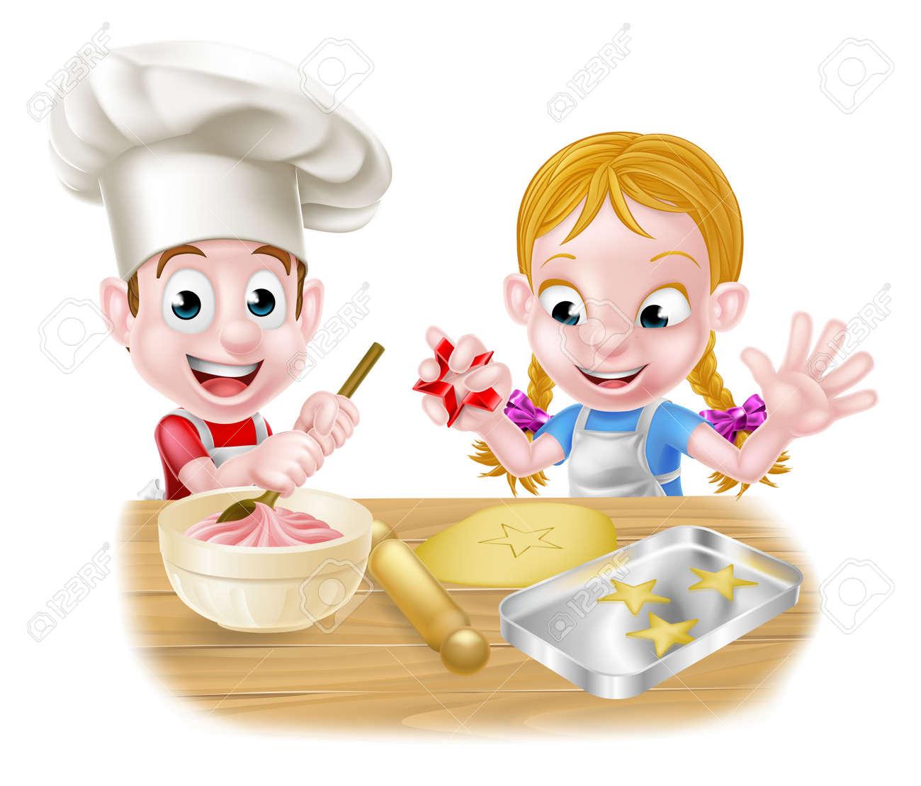 Cartoon chef children baking dessert cakes and biscuits in the kitchen - 52211434