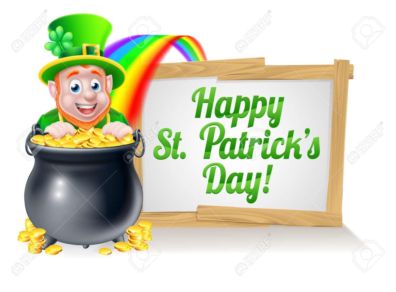 leprechaun cartoon st patricks day character peeking over a pot