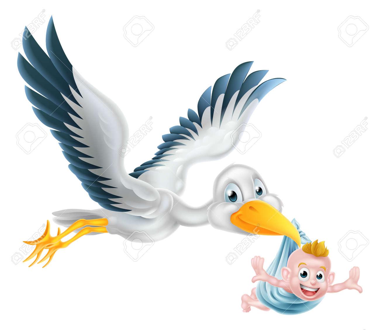A happy cartoon stork bird animal character flying through the air holding a newborn baby. Classic myth of stork bird delivering a new born baby - 53120955