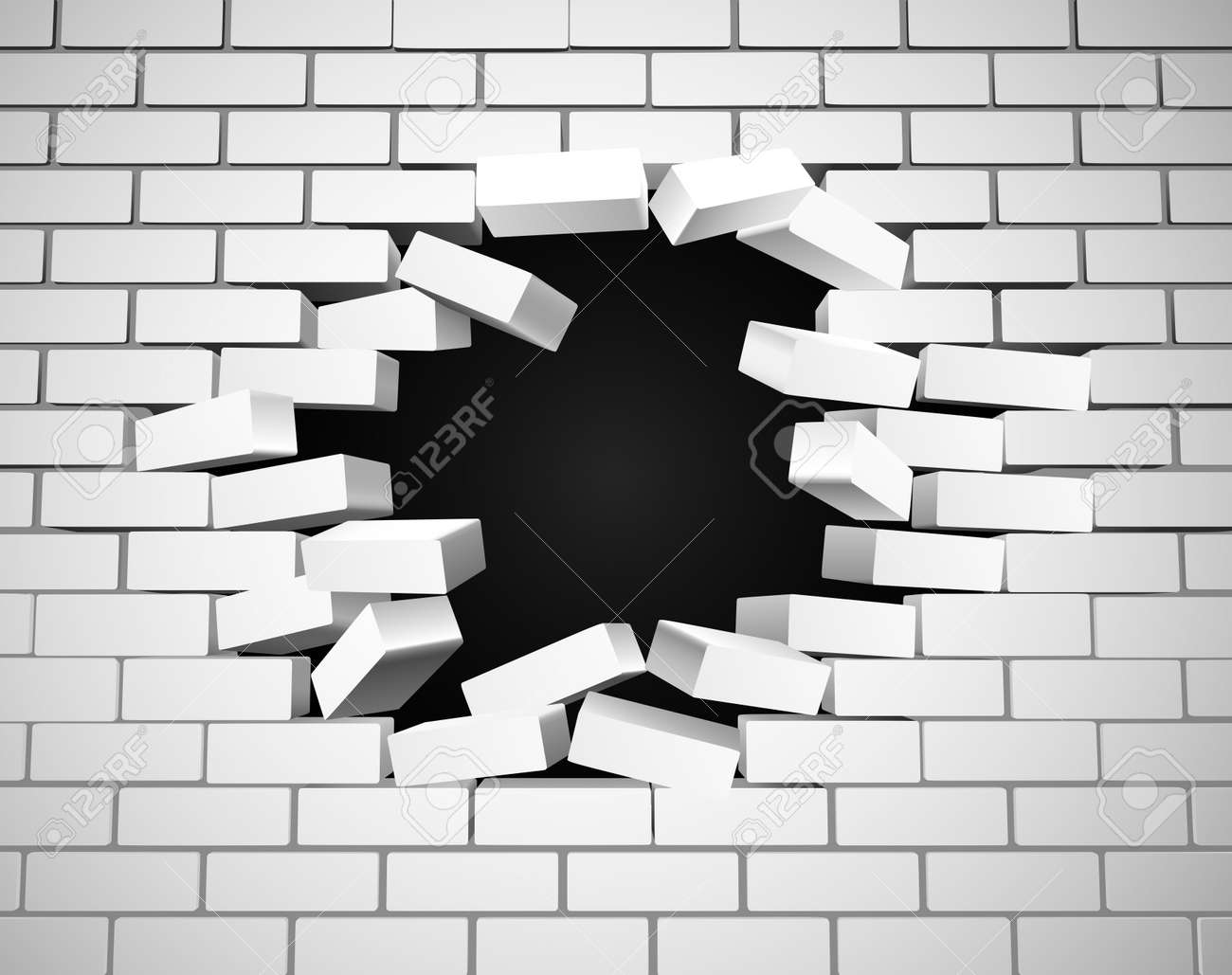 A white wall being smashed or breaking apart - 53120722