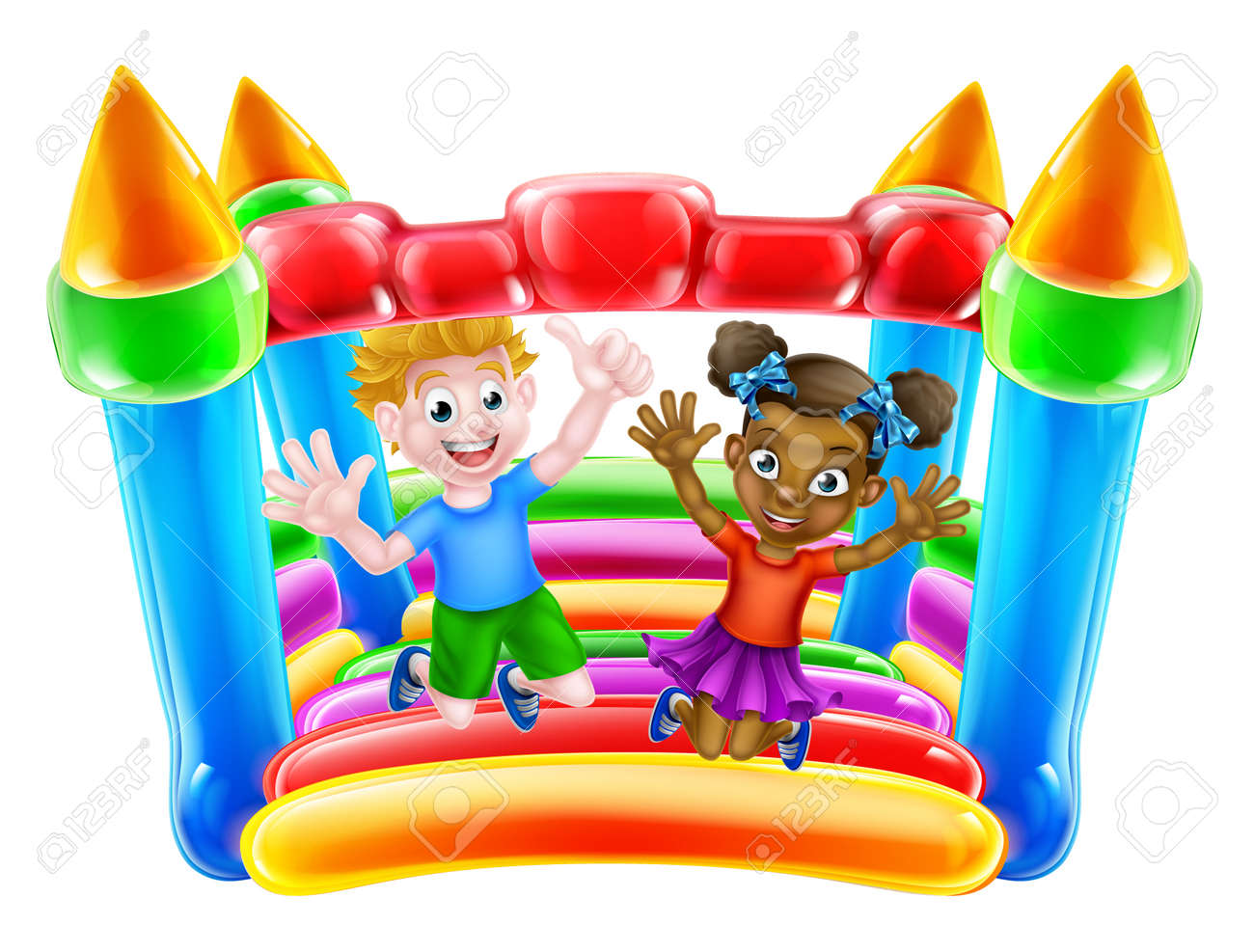 Cartoon boy and girl playing on a bouncy castle - 54228115