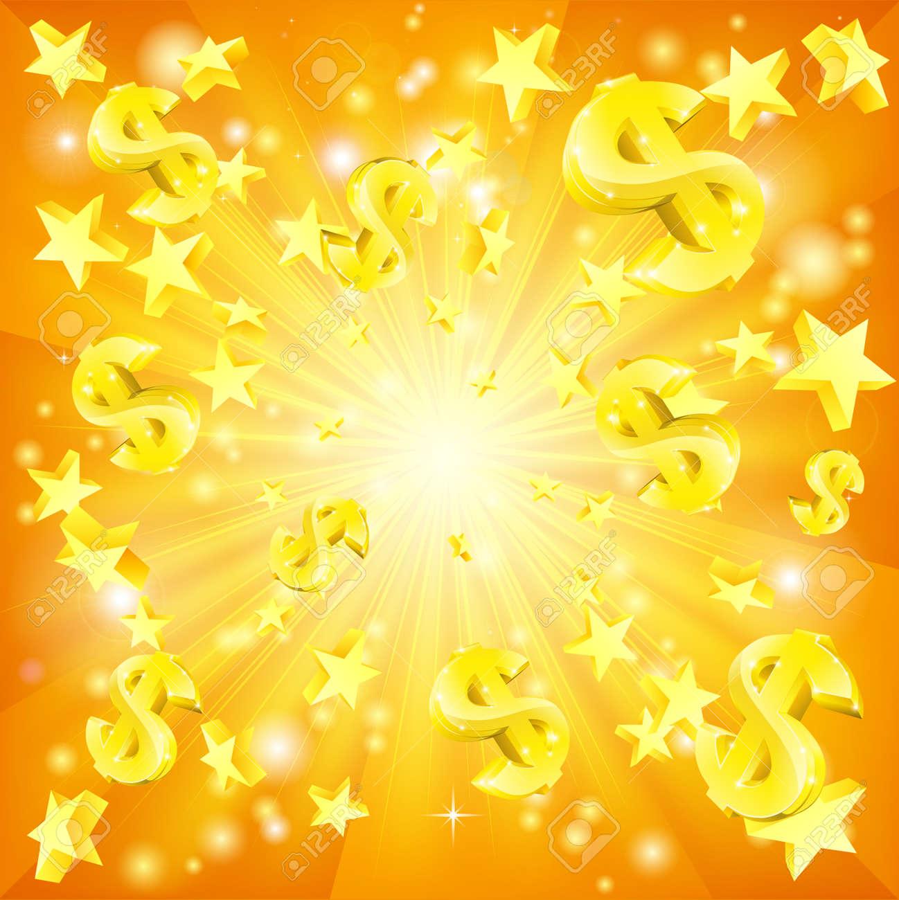 Dollar jackpot money and stars background - 54229215