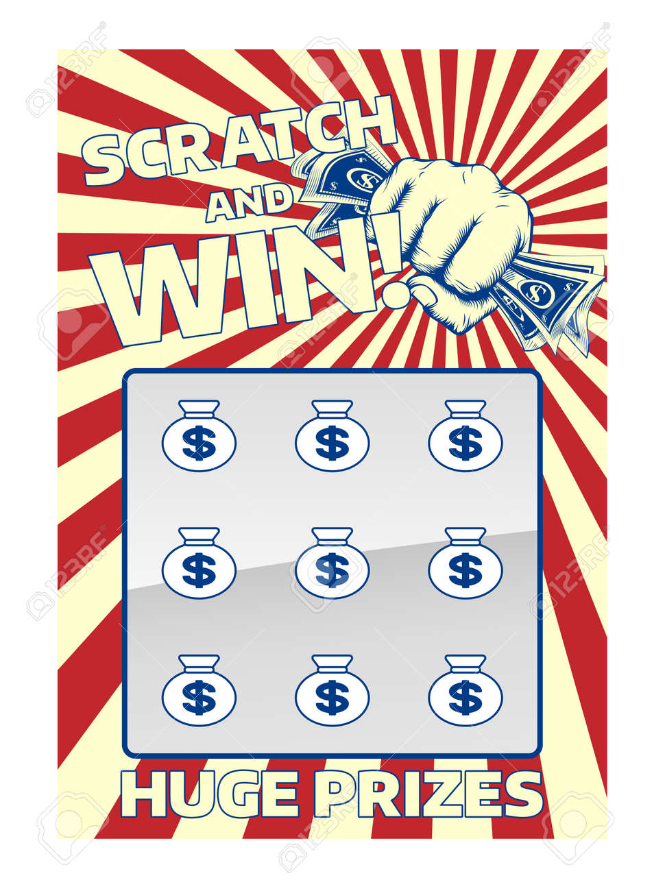 A lottery instant scratch and win scratchcard featuring a fist holding cash - 54229218
