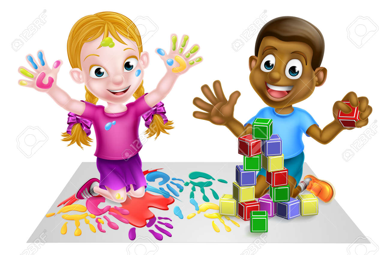 Two kids playing with paints and toy building blocks - 54230042