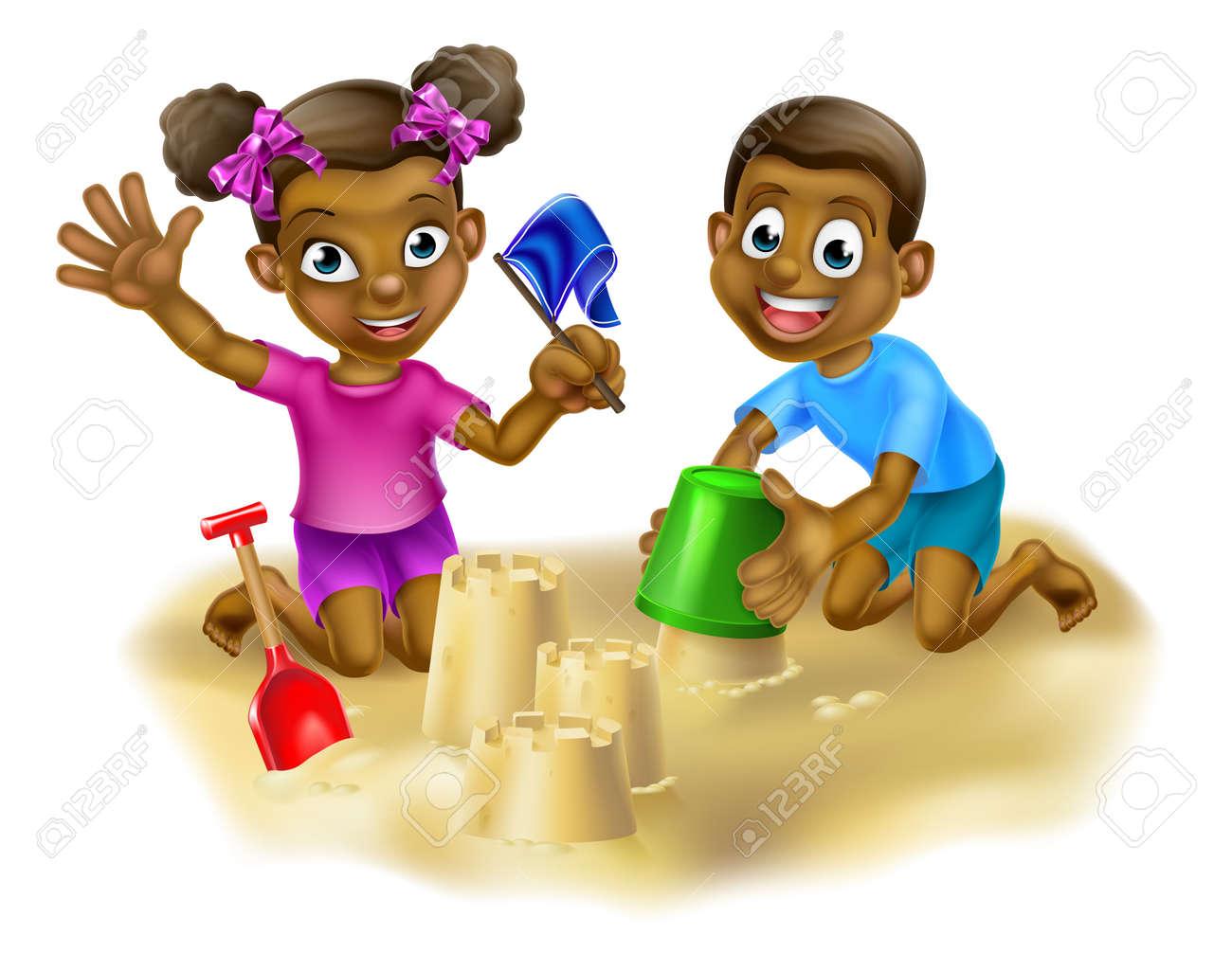 Los Dibujos Animados Niños Y Niñas Jugando En Un Foso De Arena O En