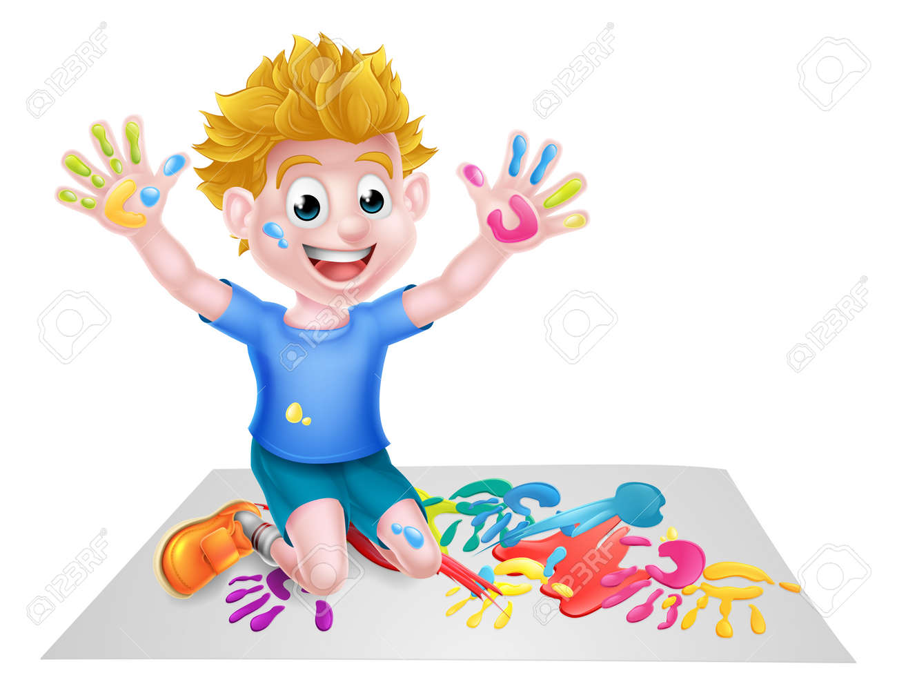 Cartoon Boy Kid Messy Playing With Paint Painting Royalty Free