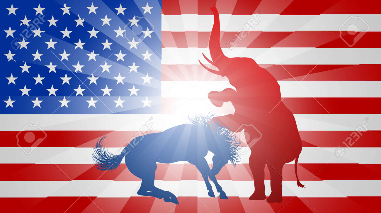 A donkey and elephant fighting in silhouette with the elephant a donkey and elephant fighting in silhouette with the elephant winning symbols of american buycottarizona