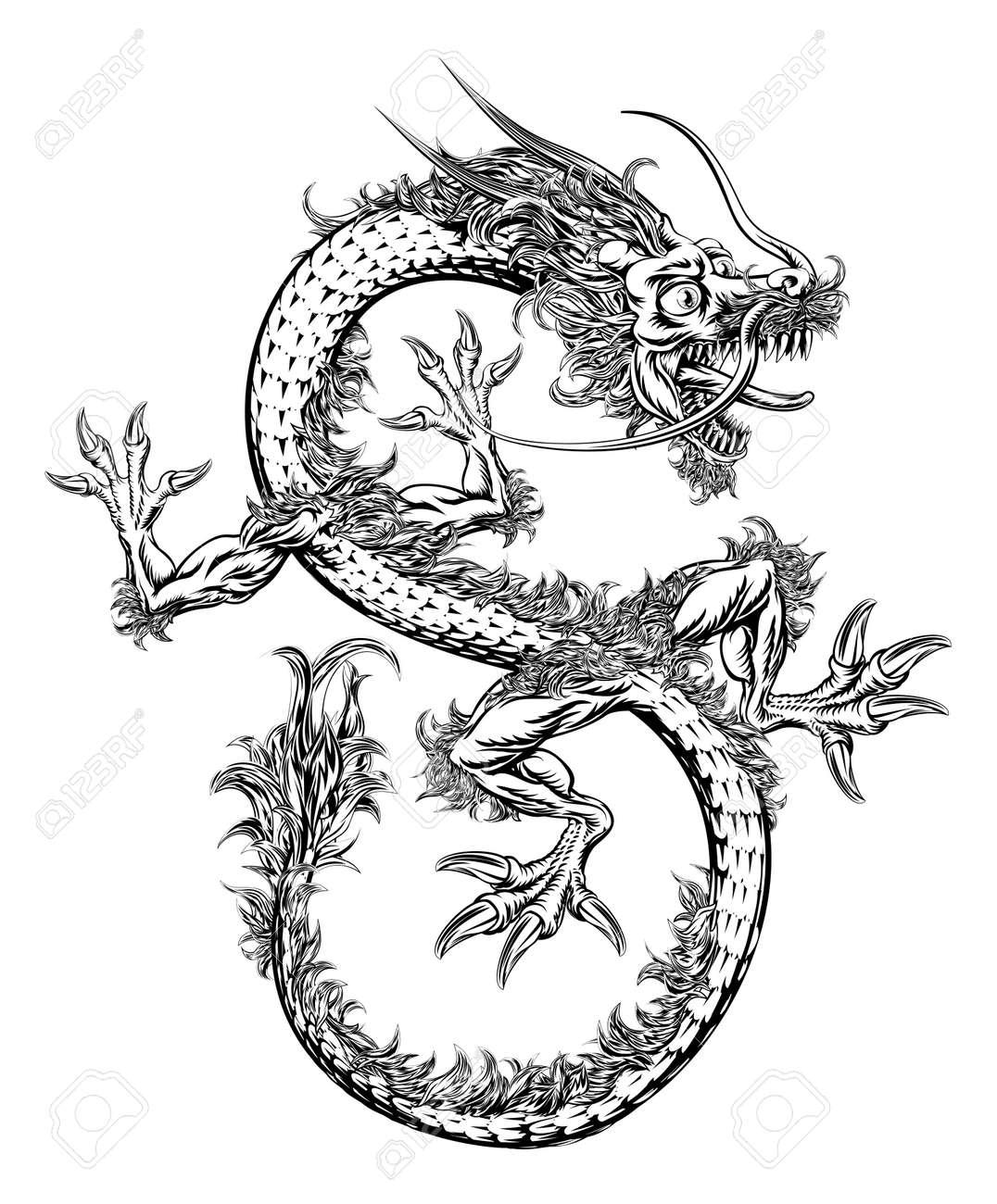 Una Ilustración Blanco Y Negro De Un Dragón Oriental Del Estilo