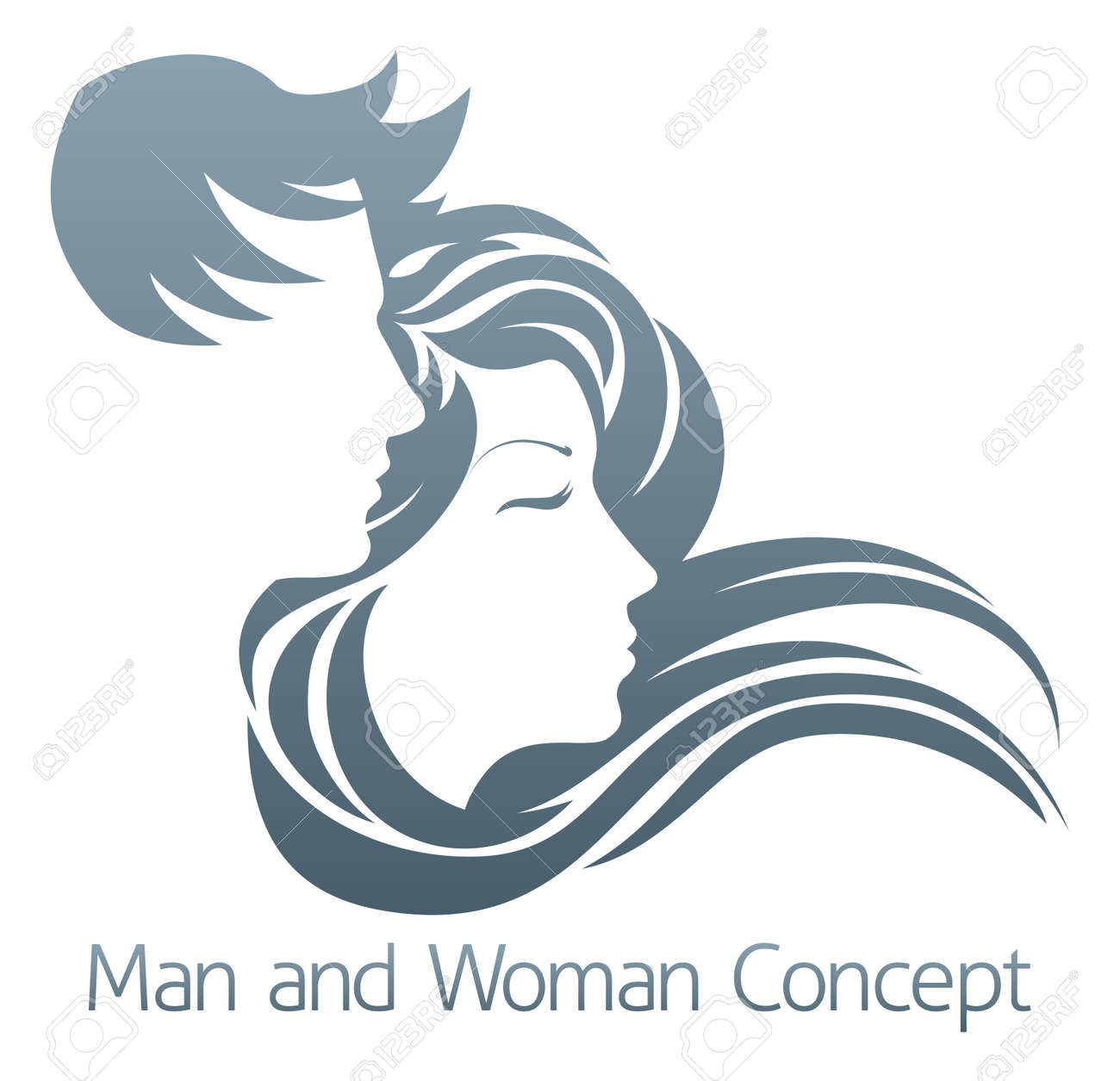 An illustration of a handsome man and beautiful woman with flowing hair in profile - 54588237