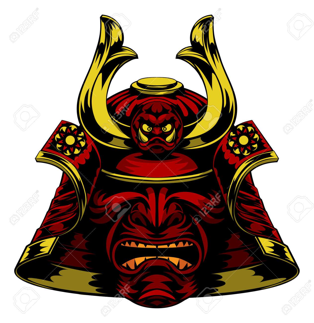 A scary red Samurai Mask Helmet - 54588272