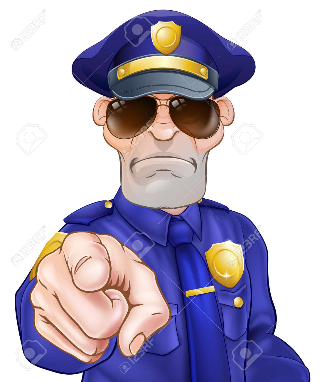 Serious cartoon police officer policeman in sunglasses pointing - 55250567