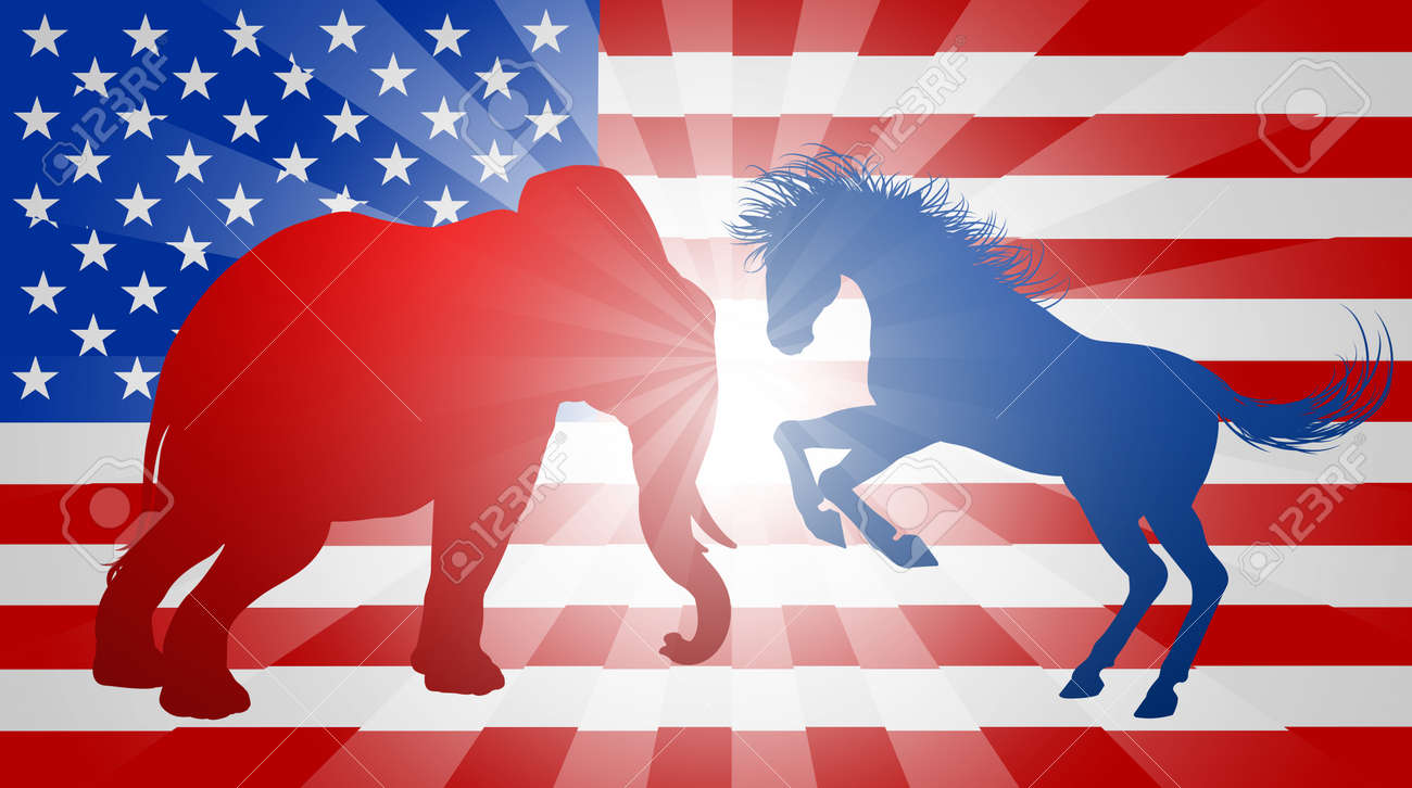 A donkey and elephant silhouettes fighting mascot animals of a donkey and elephant silhouettes fighting mascot animals of american democratic and republican parties buycottarizona