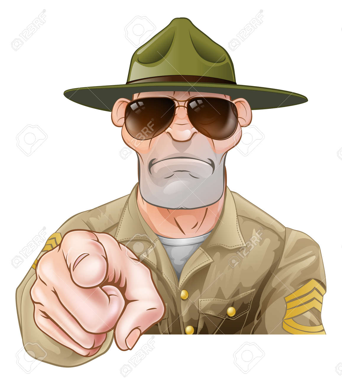 An angry looking cartoon army boot camp drill sergeant pointing - 56272718