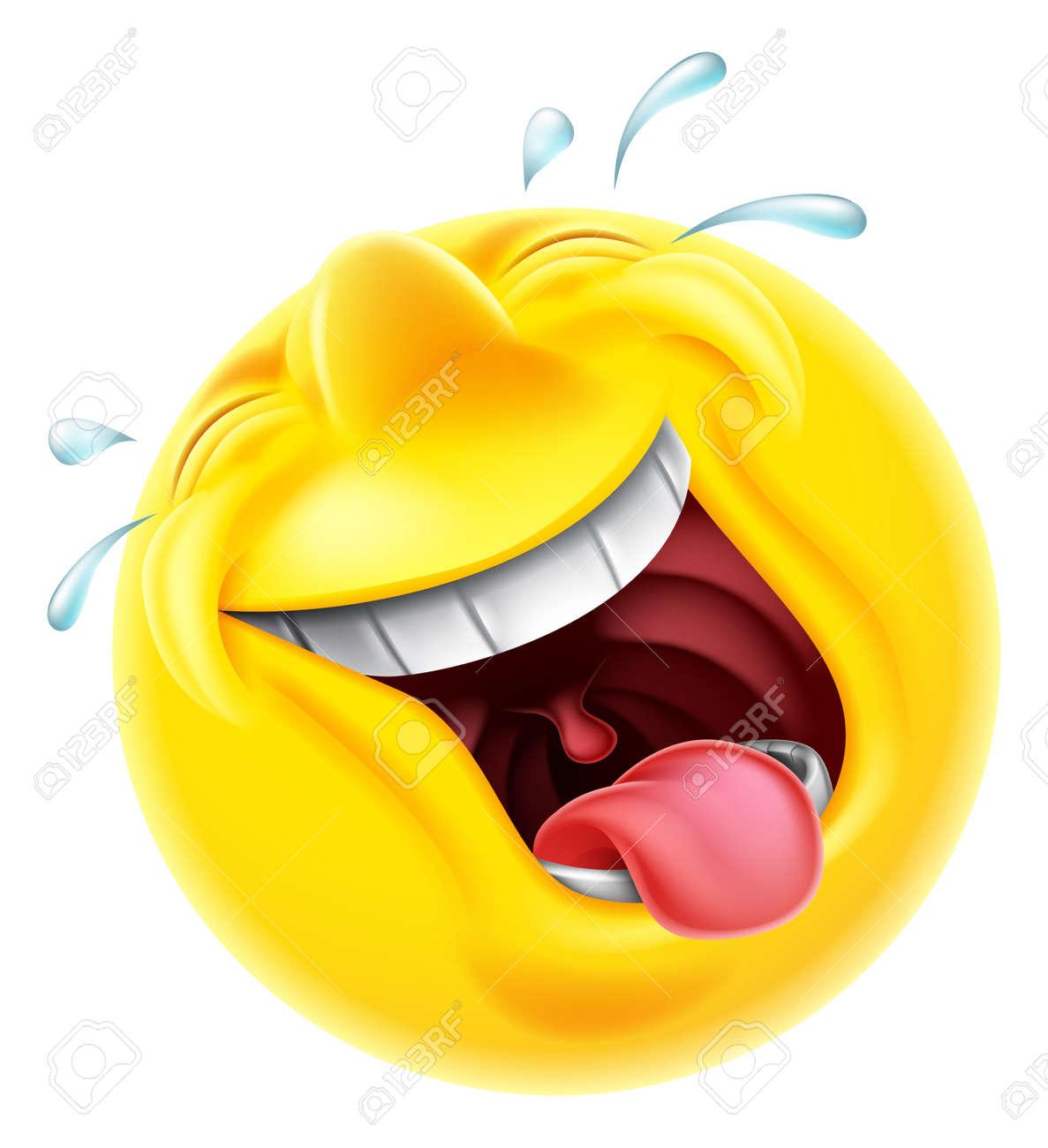 Un Rire Emoji émoticône Smiley Caractère Très Heureux De Visage Rire