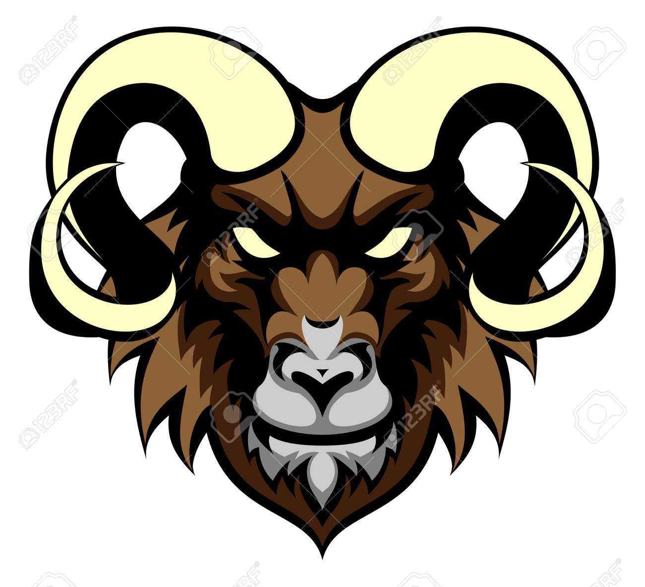 an illustration of a ram animal mean sports mascot head royalty free