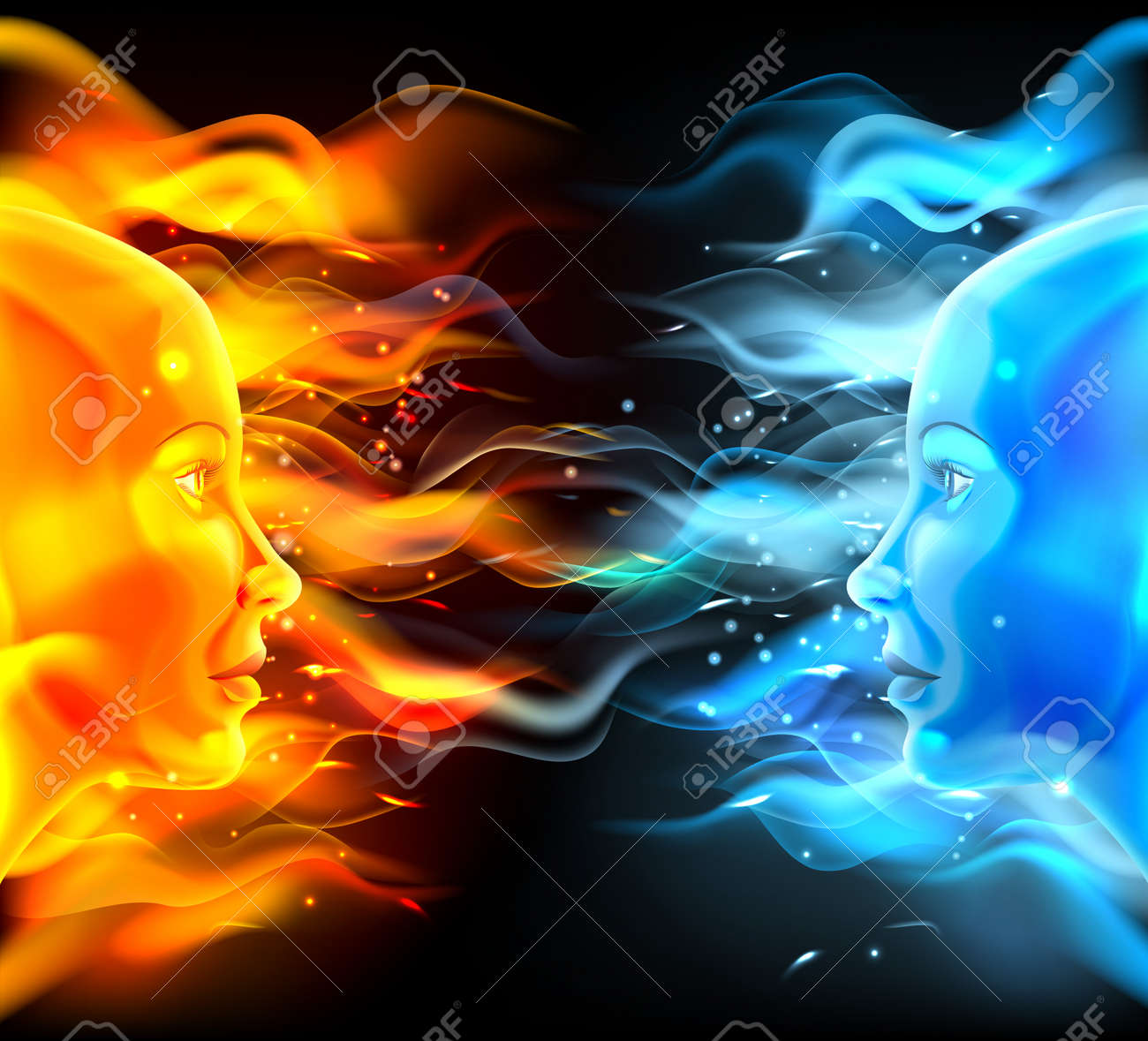 Opposites faces concept of two faces with fire or flames one hot orange and one cold blue. Could be a concept for the sun and moon, hot and cold, summer and winter, passion and logic or similar. - 57754253