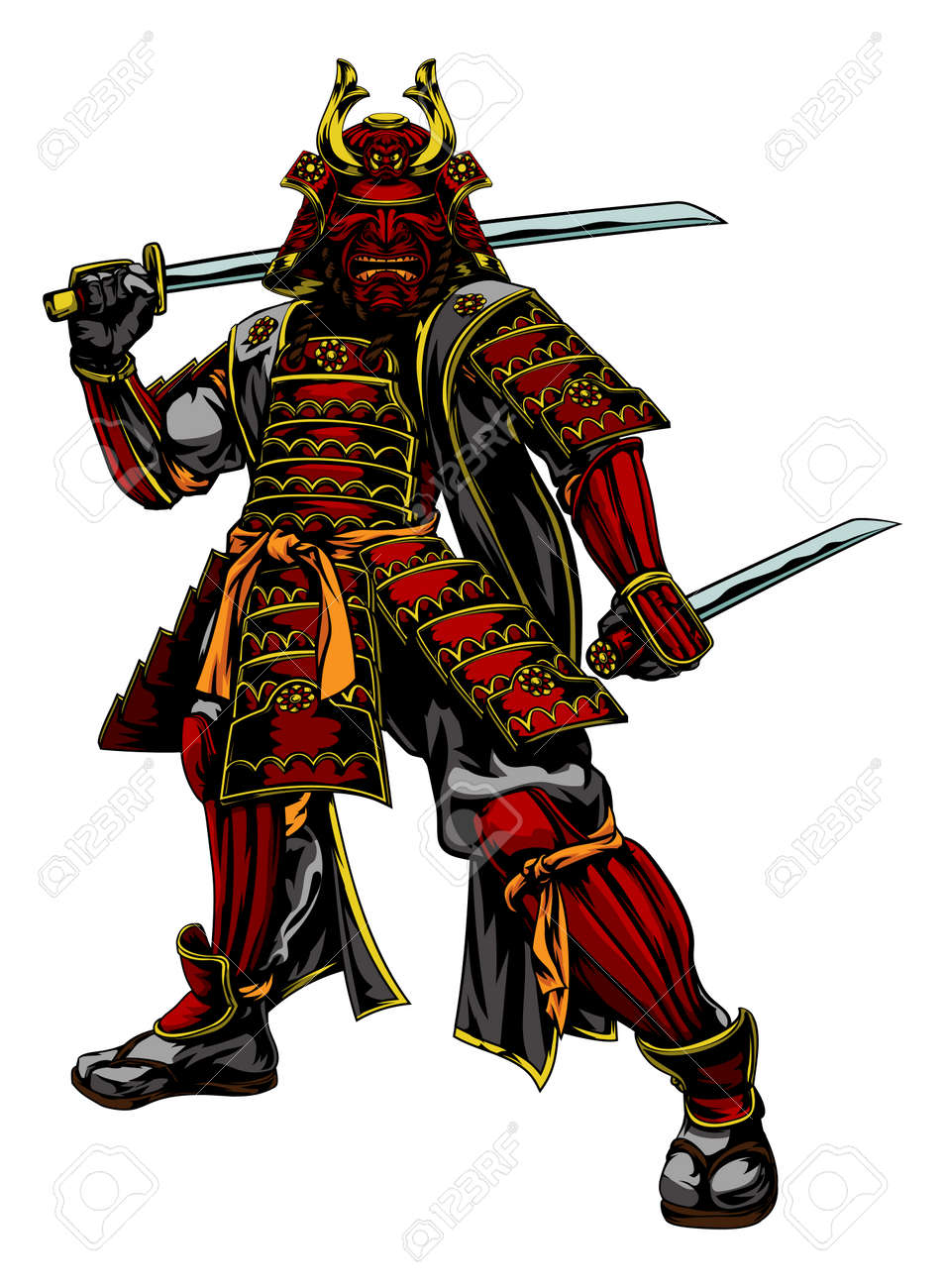 official photos 6d969 b9c8f An illustration of a Japanese samurai warrior standing and holding two  swords Stock Vector - 57729127