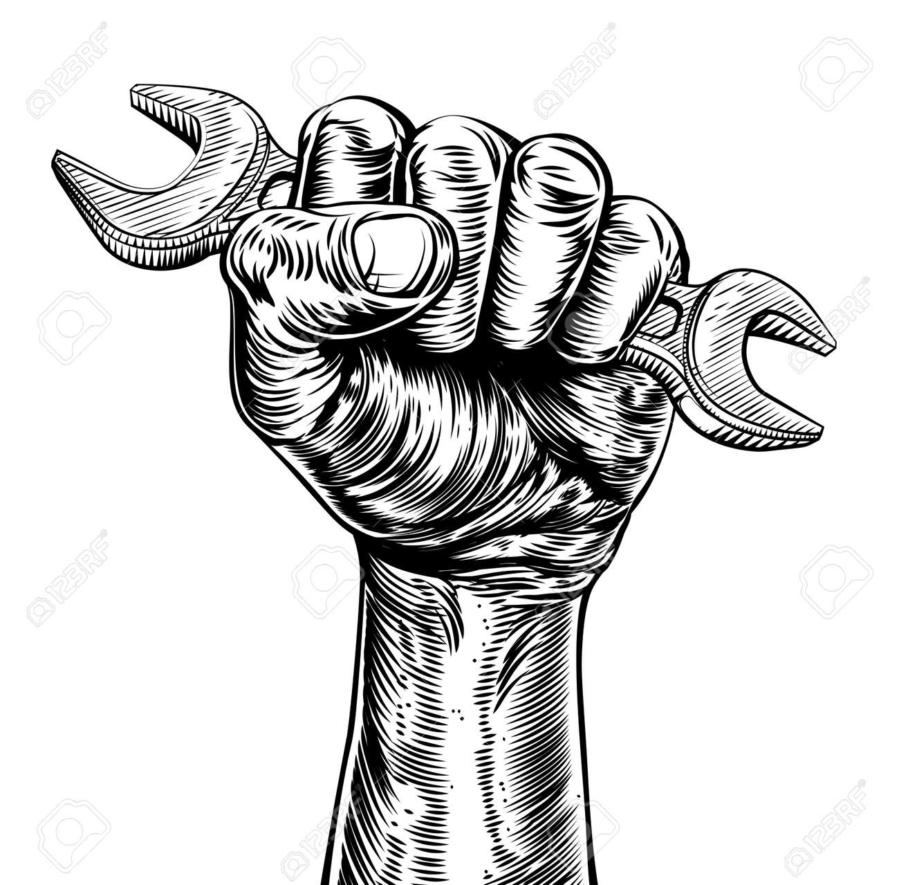 A vintage etched woodcut style fist holding a spanner or wrench tool - 57729137