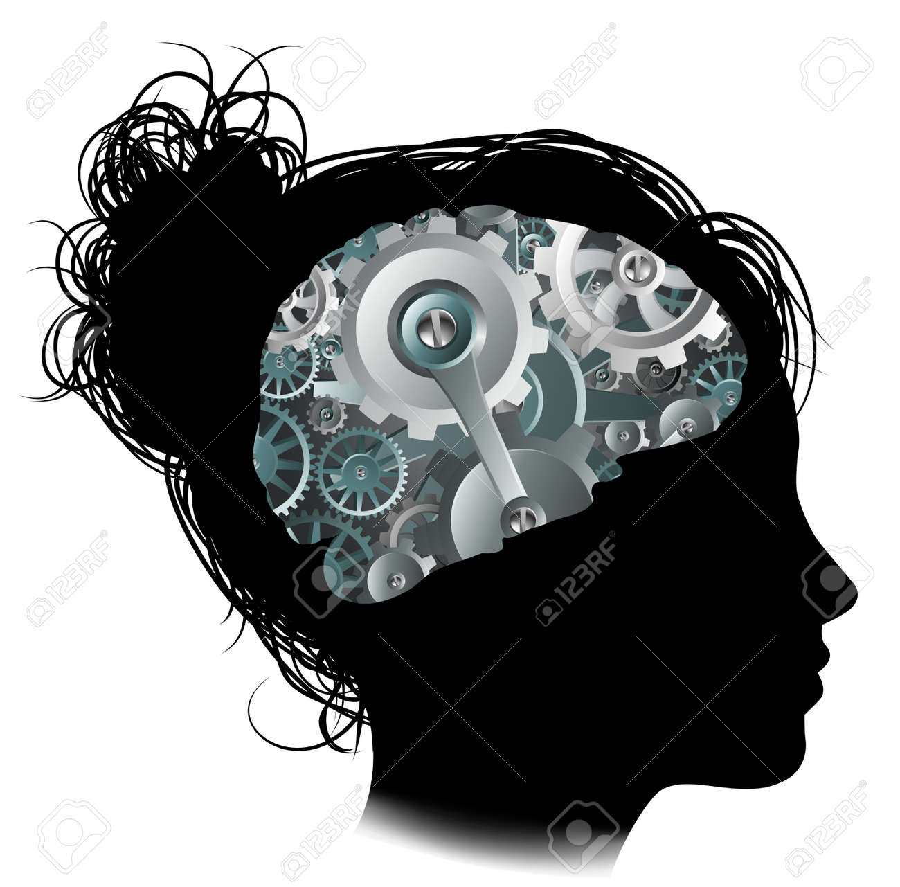 Silhouette of a woman with a brain made up of gears or cogs workings machine parts - 57835636
