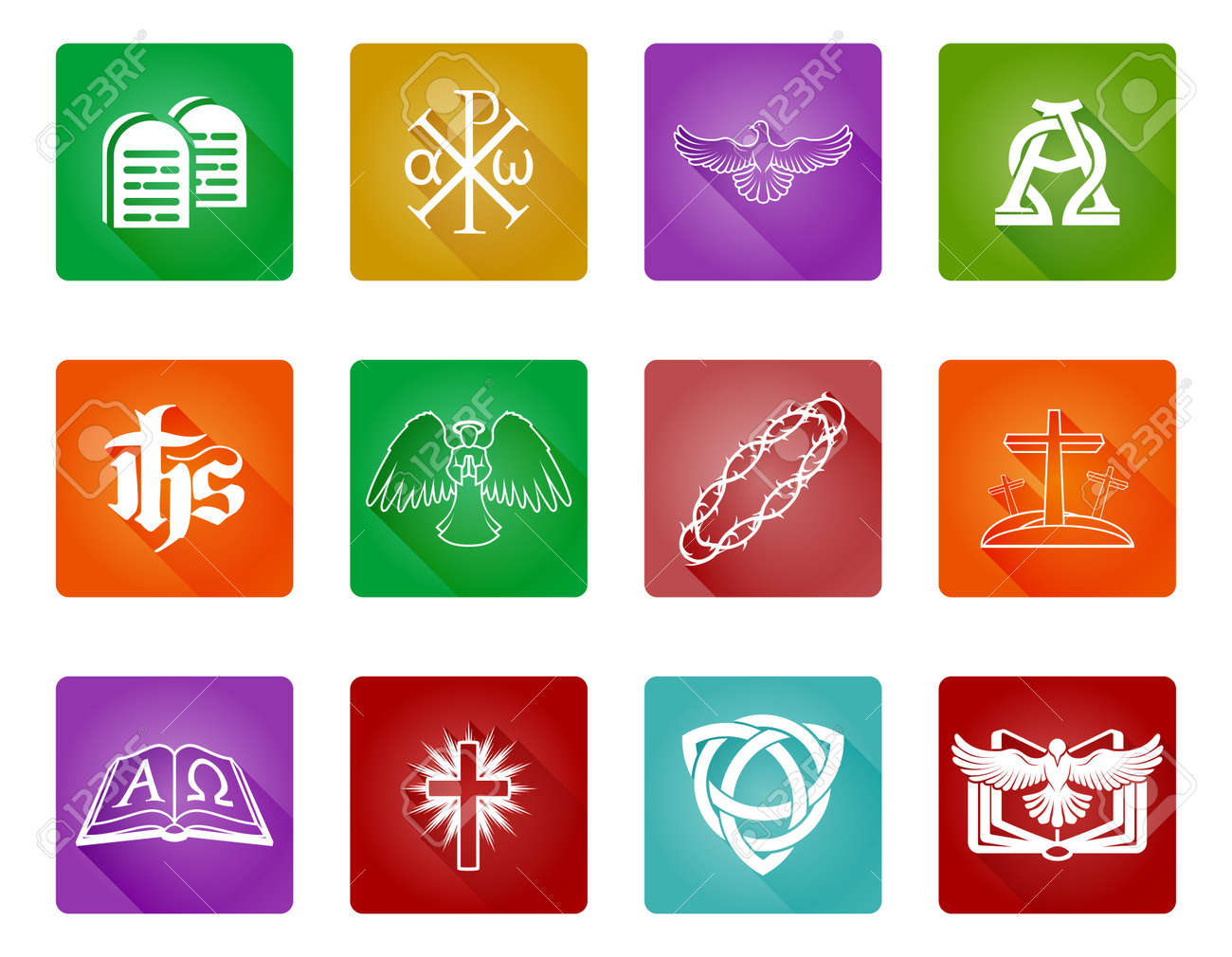 A Set Of Christian Religious Icons And Symbols With Alpha Omega