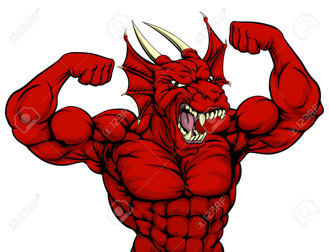 Cartoon Tough Mean Strong Red Dragon Sports Mascot Showing His ...