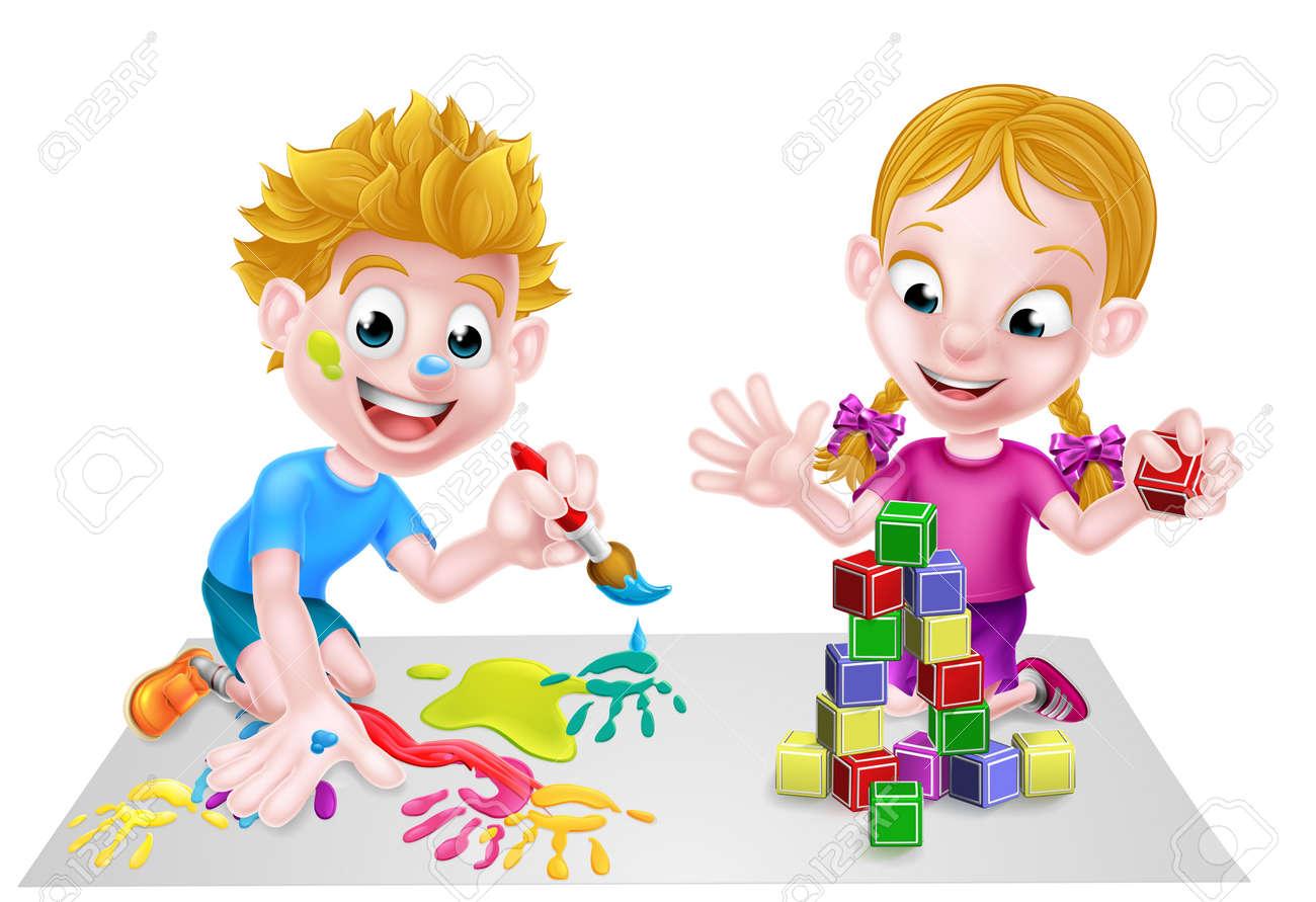 Los Dibujos Animados Niños Y Niñas Jugando Con Juguetes Con Las