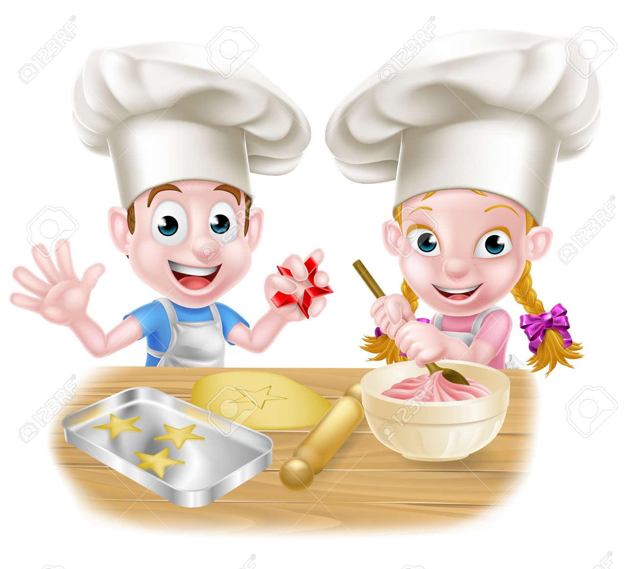 Cartoon Chef Kinder Kuchen Und Platzchen Backen Lizenzfrei Nutzbare