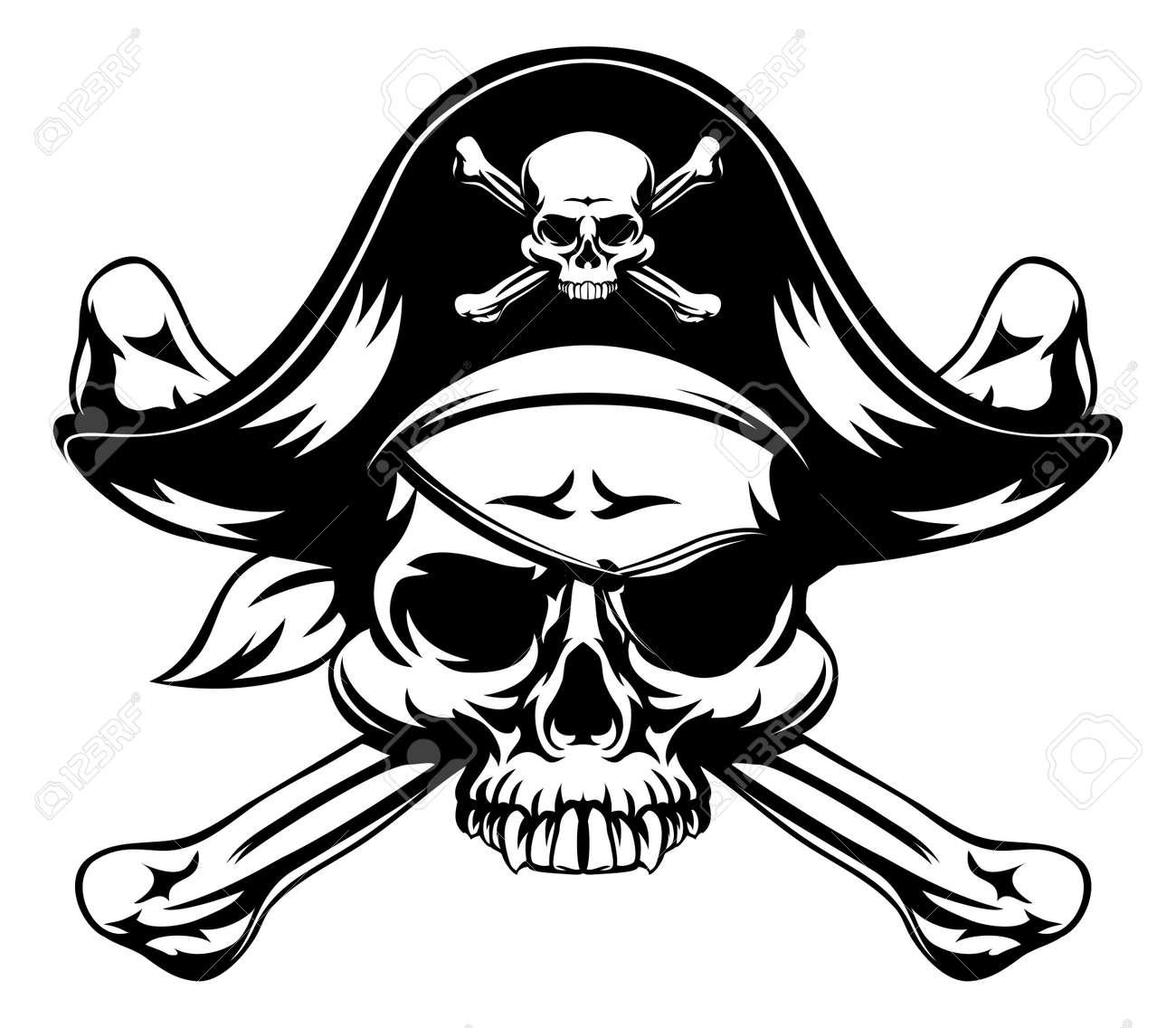 Schädel Und Gekreuzte Knochen Piraten-Piratenflagge Trägt Hut Und ...