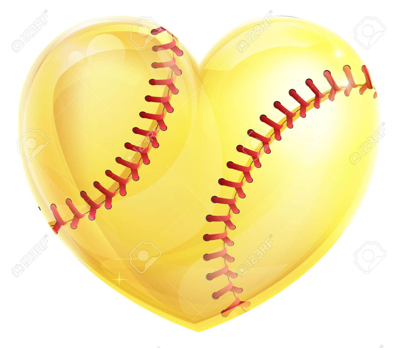 ハート黄色ソフトボール ボール コンセプト ソフトボールのゲームの愛の