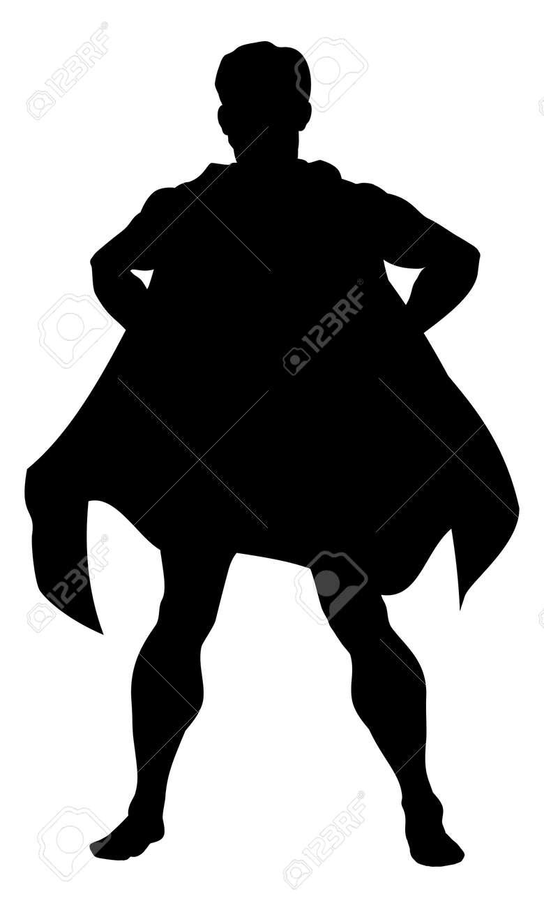 A silhouette comic book superhero man wearing a cape - 60175462