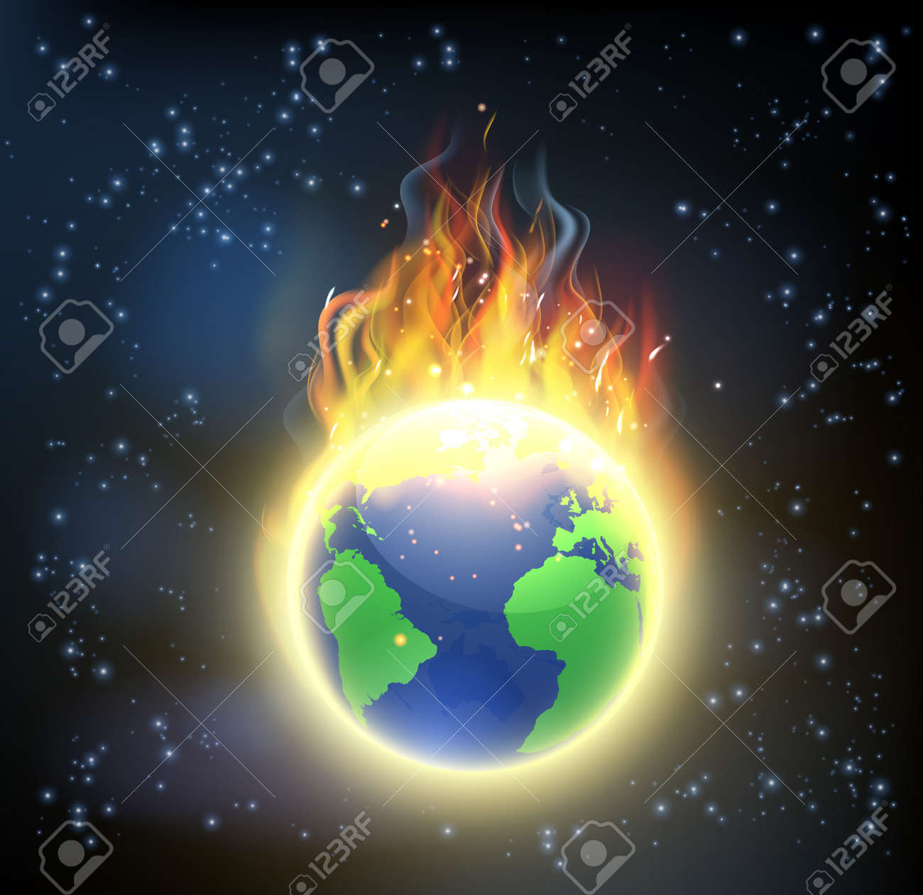 The earth world globe on fire, concept for climate change, global warming, or other disasters - 59997514