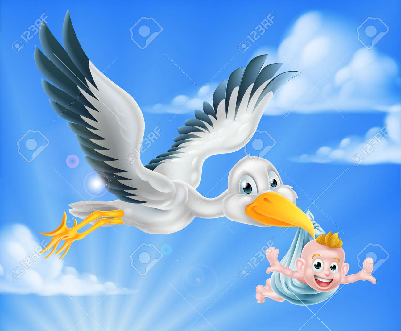 Cartoon stork bird animal character flying through the sky holding a newborn baby. Classic myth of stork bird delivering a new born baby - 59995250