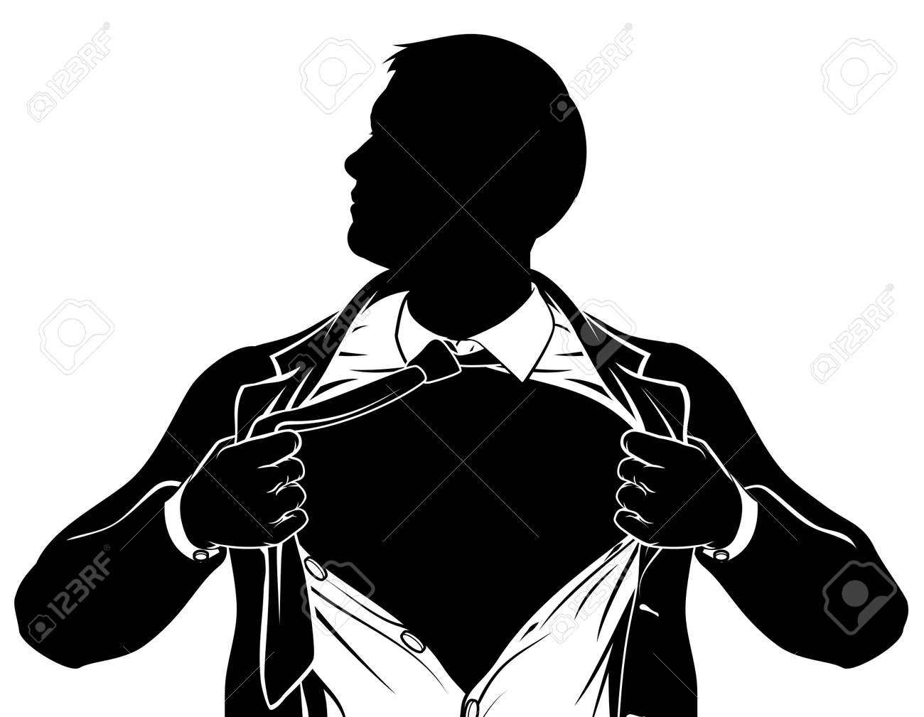 a superhero business man tearing his shirt showing the chest