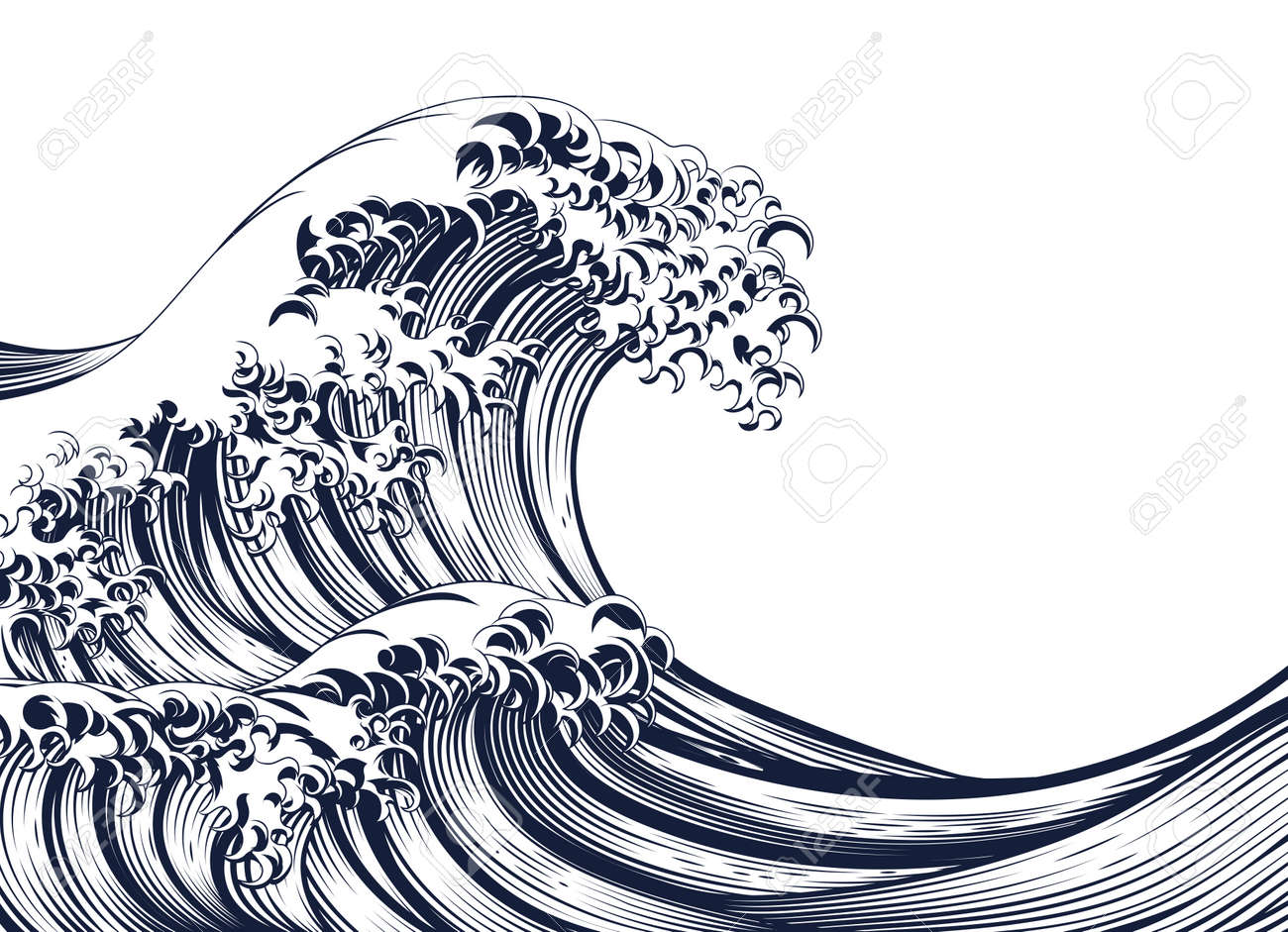 An oriental Japanese great wave in a vintage retro engraved etching woodcut style - 69388228