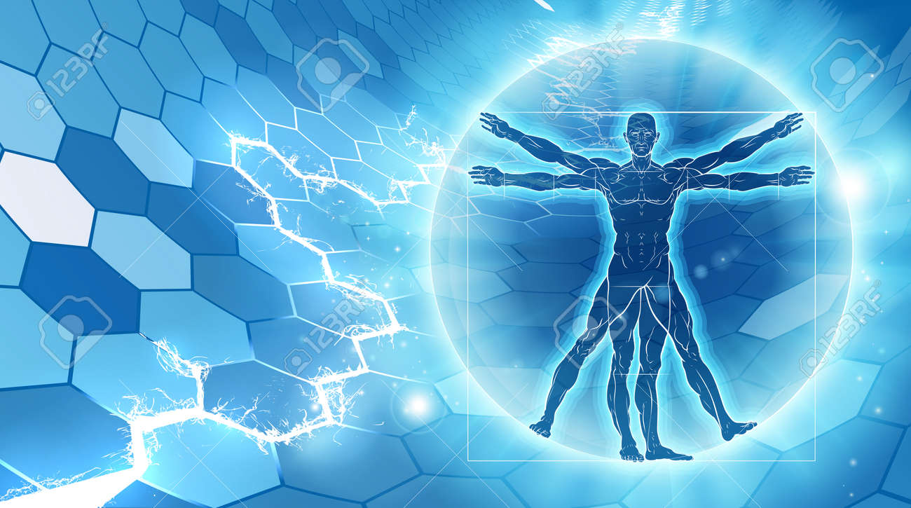 Vitruvian man hexagon blue background concept like Leonard Da Vinci s anatomy illustration - 69823155