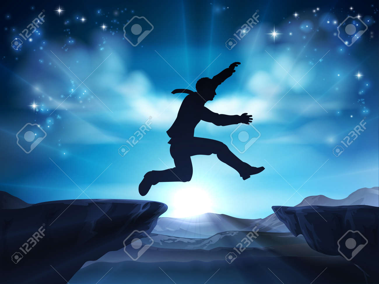 Businessman in silhouette in mid air jumping across a mountain gap. A concept for taking a leap of faith, being courageous or taking a risk in business or ones career. - 74523008