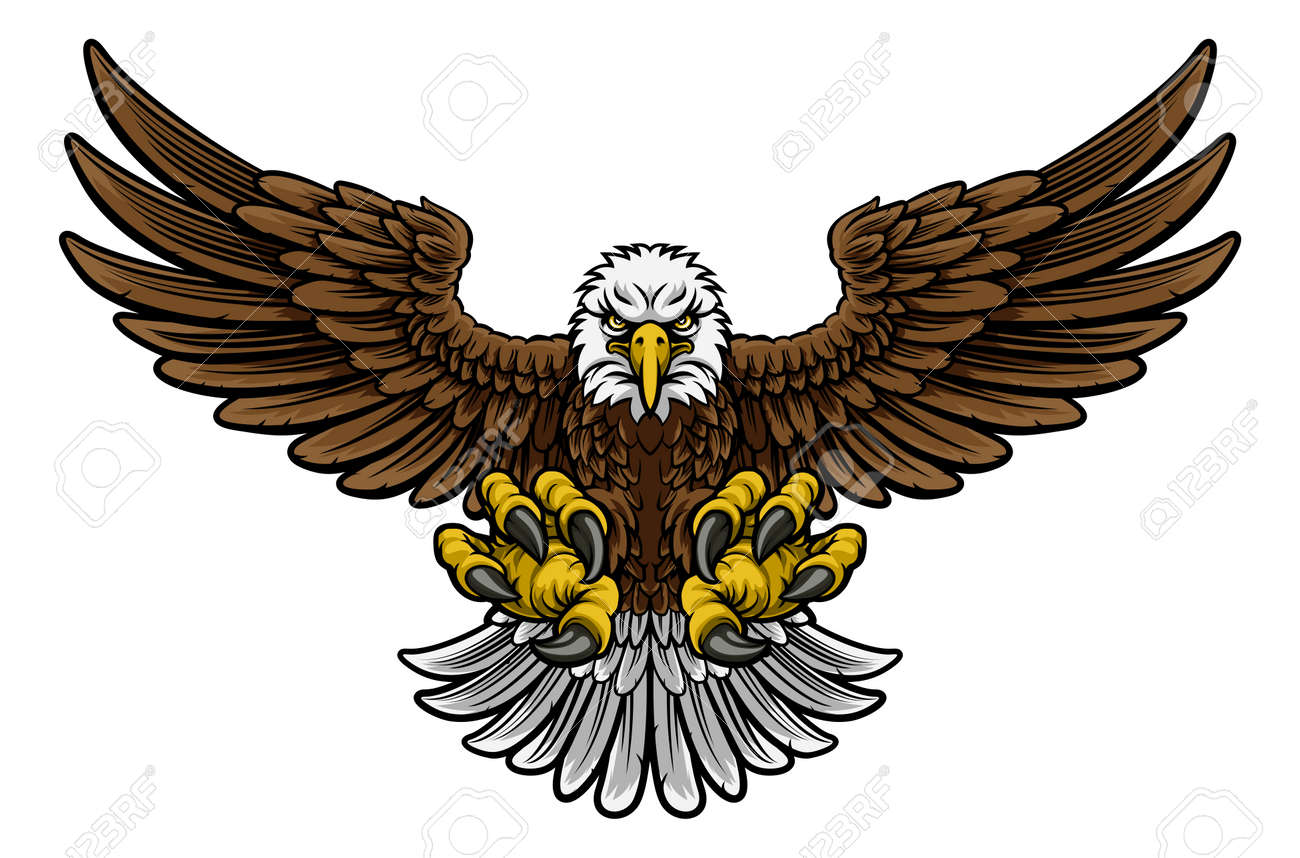 A cartoon bald American eagle mascot swooping with claws out and wings outstretched spread - 78968805