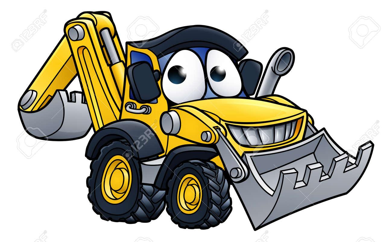 Bulldozer digger construction vehicle cartoon character mascot illustration - 79623045