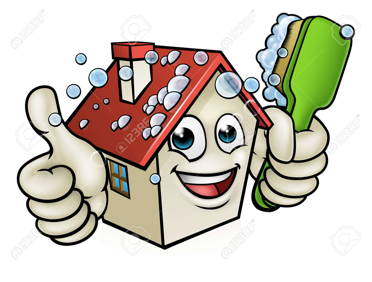 A happy cartoon house man mascot character holding scrubbing cleaning brush and giving a thumbs up - 80115541