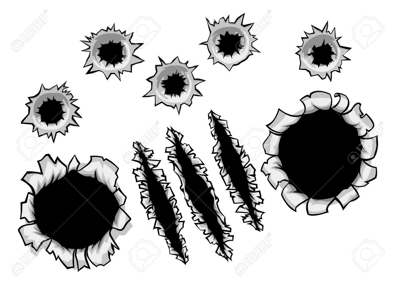 Bullet Holes and Claw Ripped Torn Background - 83649725