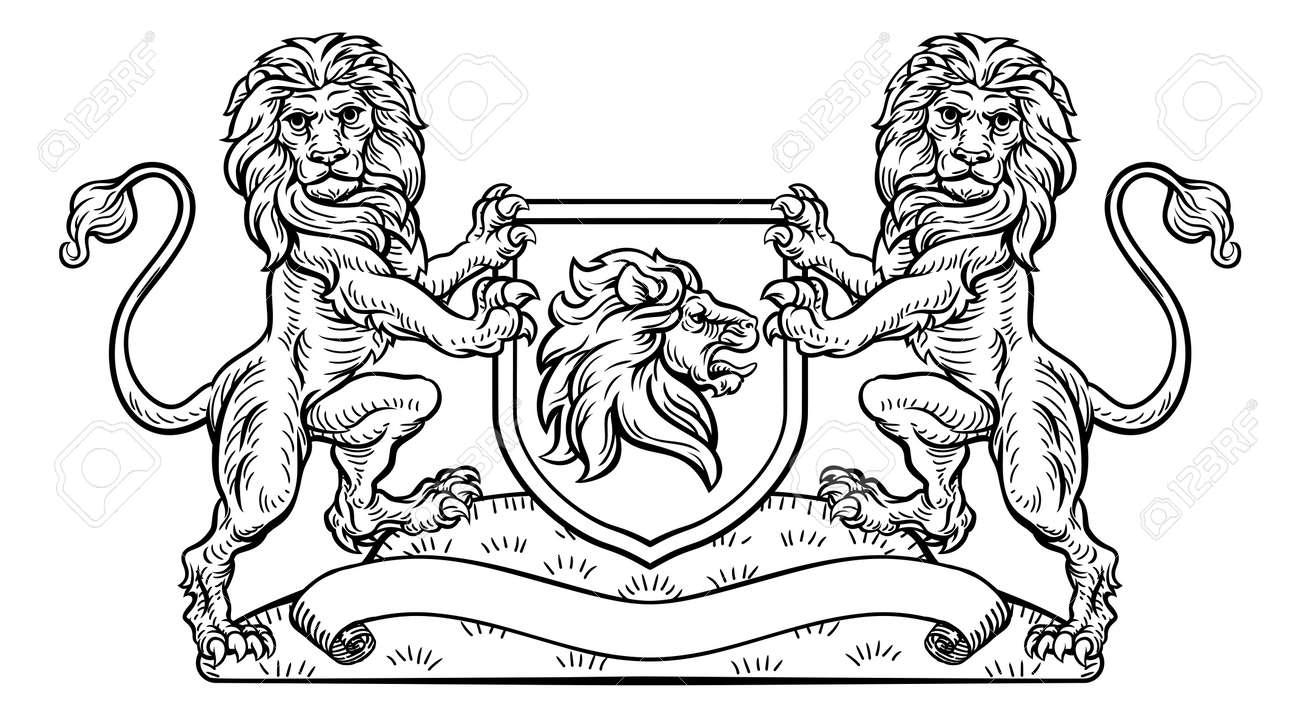 Lion Heraldic Crest Coat Of Arms Shield Emblem Stock Vector