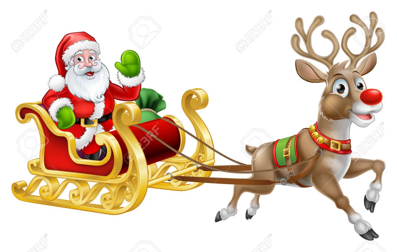 Christmas Santa Claus Sleigh Sled Reindeer - 88260180