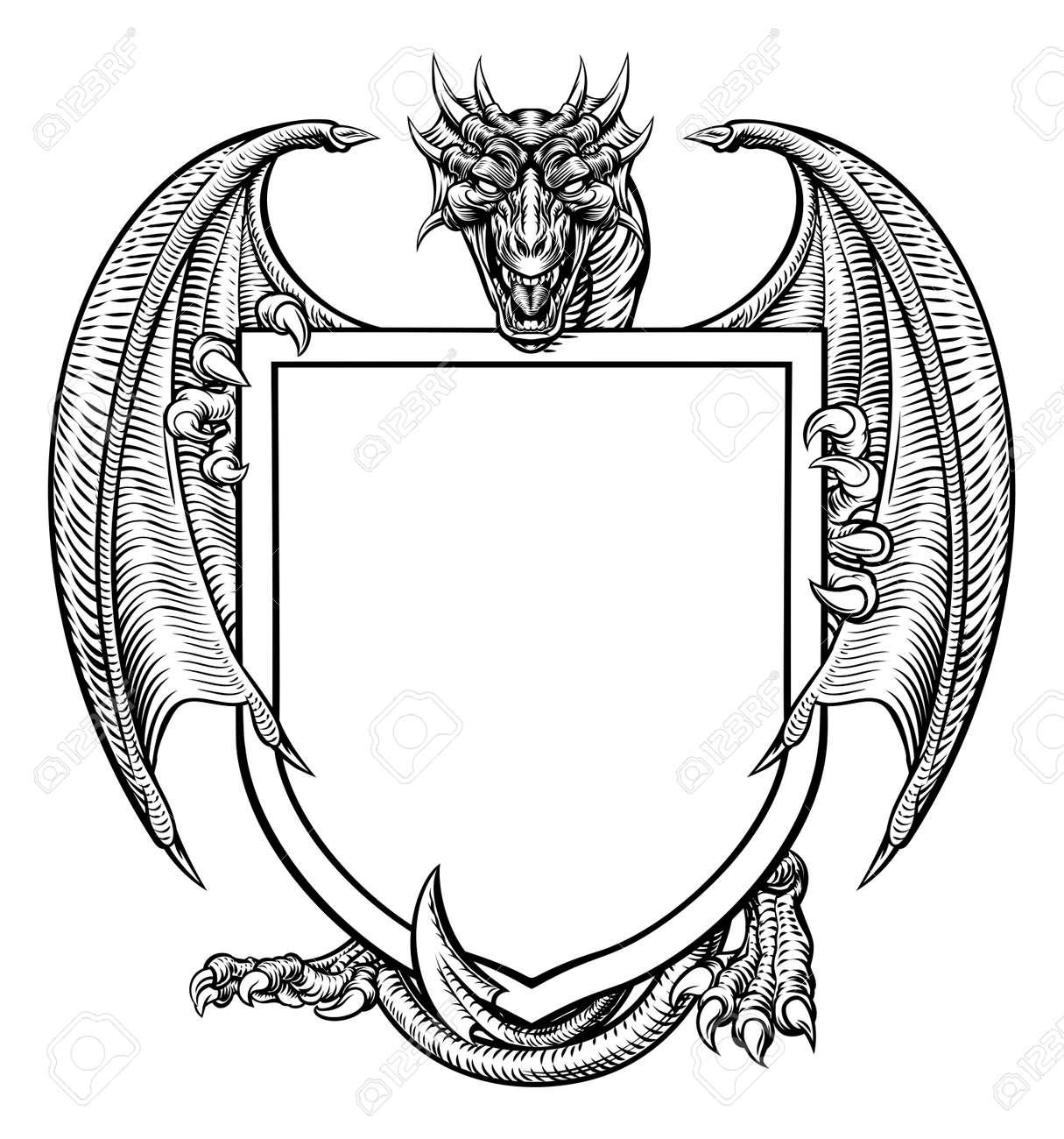 Dragon Crest Coat of Arms Shield Heraldic Emblem - 88536204